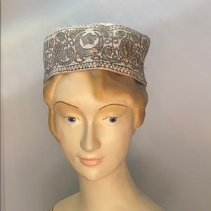 Vintage Gold Metallic Embroidered Kufi Hat